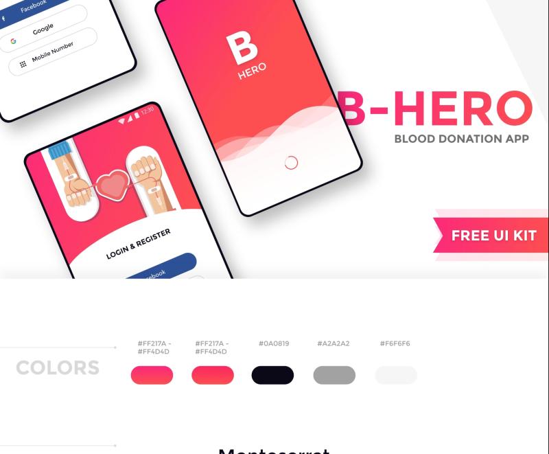 B-Hero – Free Mobile XD UI kit