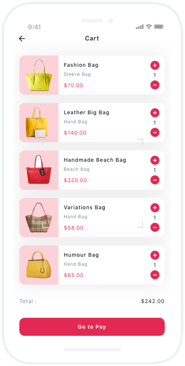 Bag Store Mobile App UI Kit