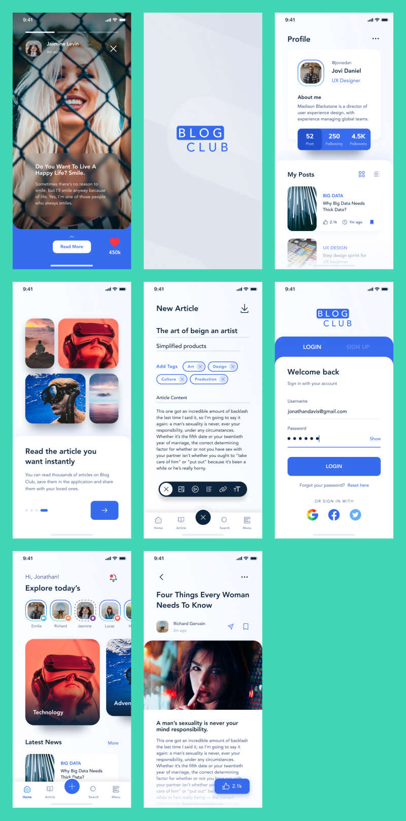 Blog Club Free UI Kit for Figma
