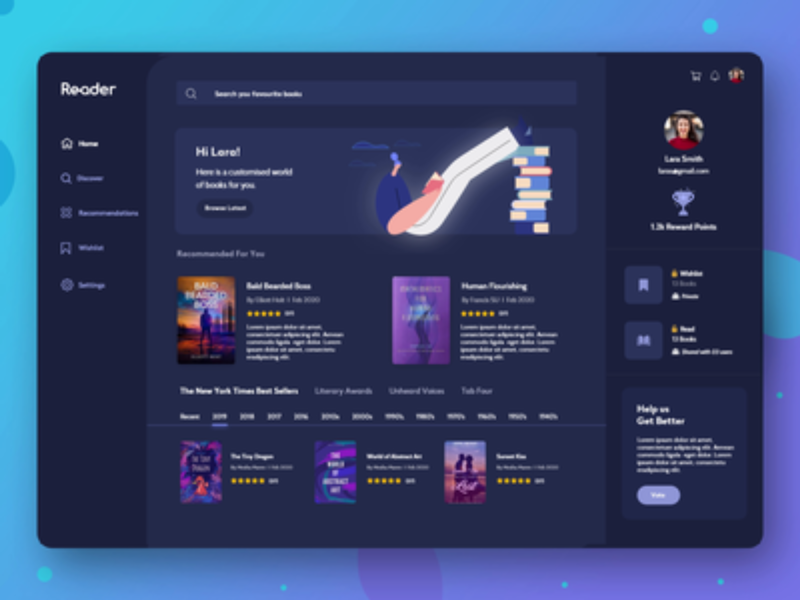 Books Web Interaction - XD Freebie
