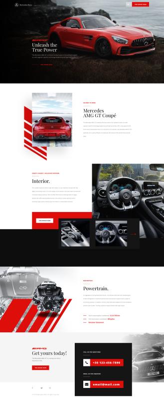 Car landing page XD freebie