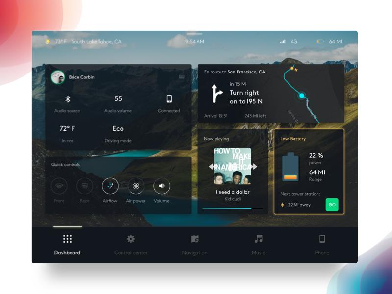 Car screen dashboard UI
