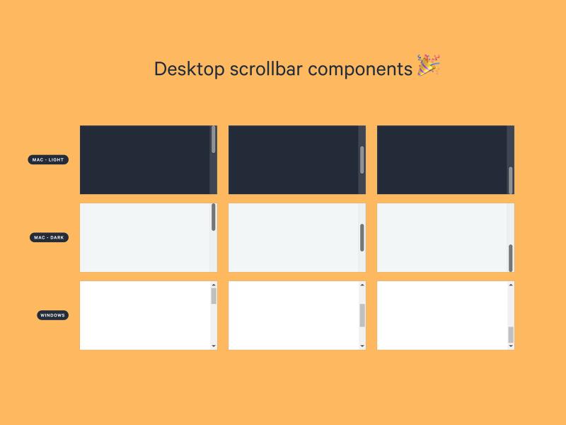 Desktop scrollbar XD components