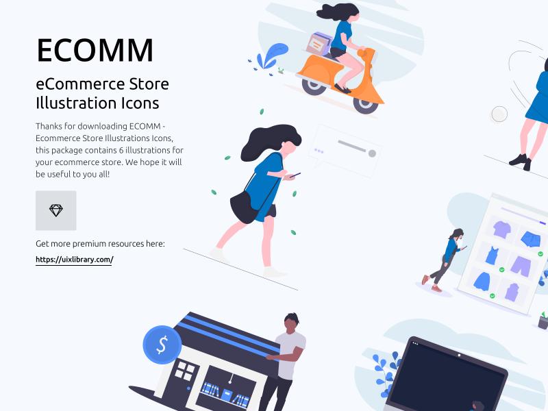 ECOMM - eCommerce Store Illustration Icons Freebie
