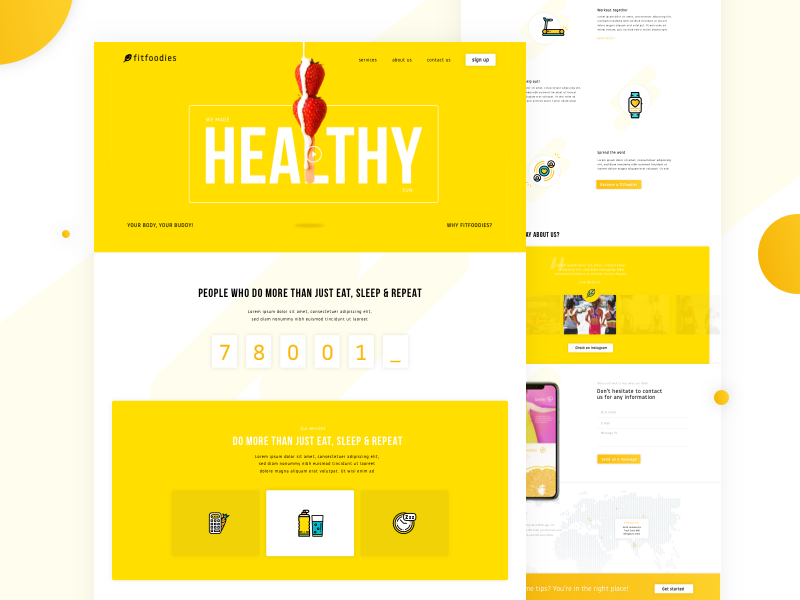 Fitness Concept Landing Page - Hello its yellow - Freebie