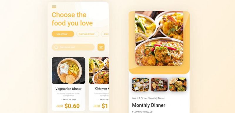 Food and cuisine app XD concept