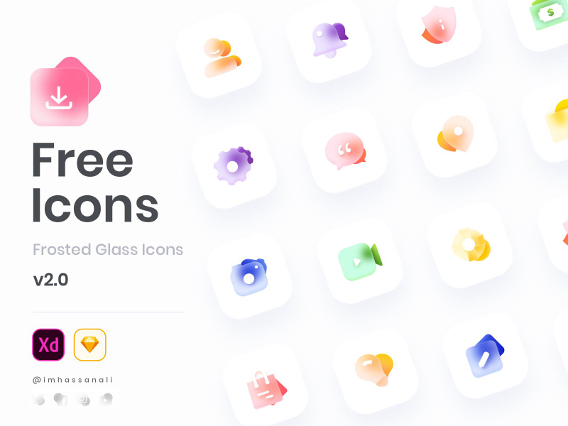 Free Glass Icons Set for Adobe XD