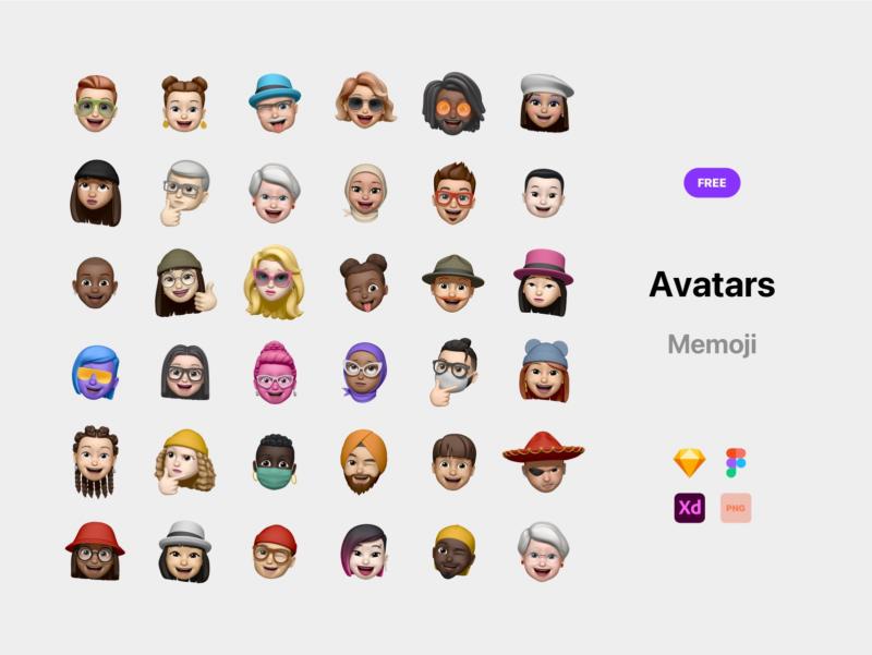 Free XD memoji avatars
