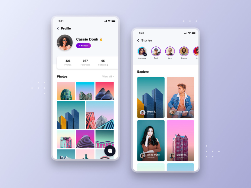 Free XD social app template