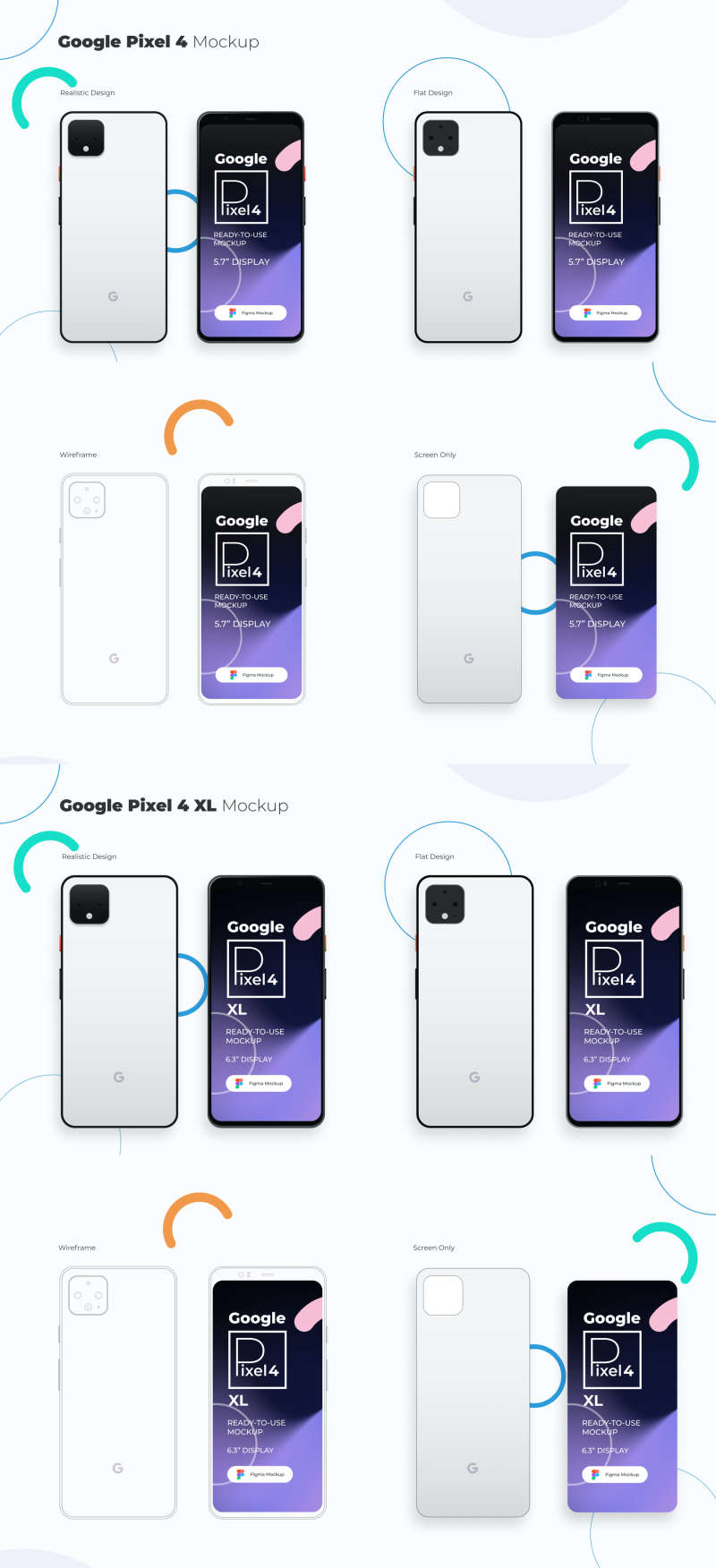 Google Pixel 4 and 4 XL Mockup for Figma