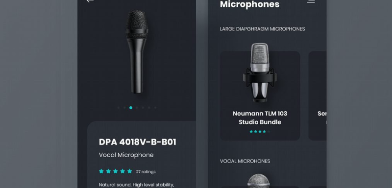 Microphone ecommerce XD app template