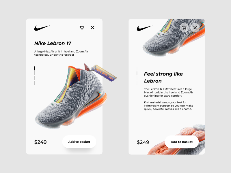 Mobile XD Ecommerce product concept