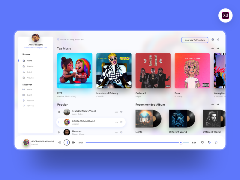 Music player web app XD template