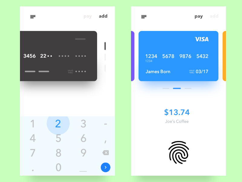 Payment Checkout screens