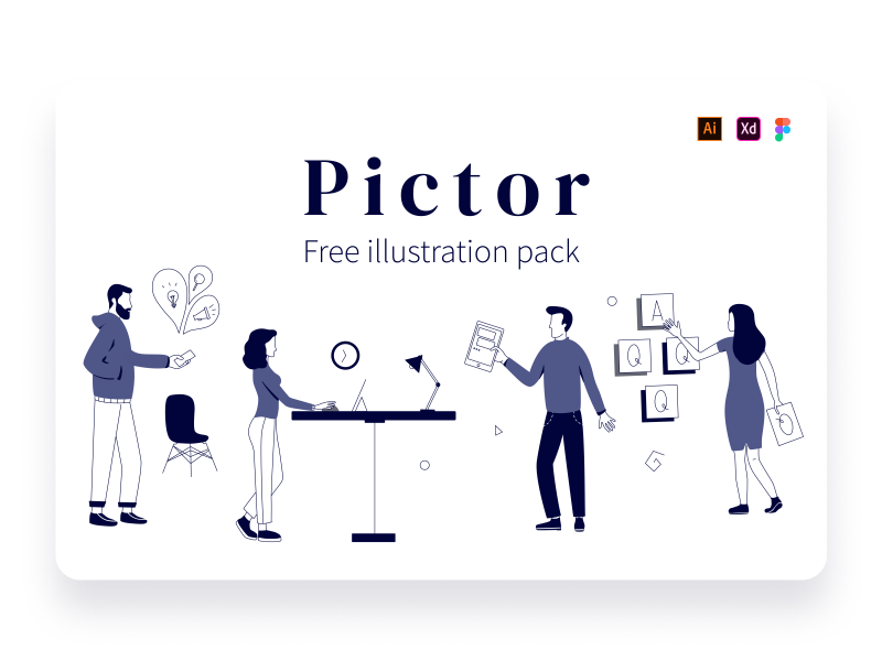 Pictor – Free XD illustration pack