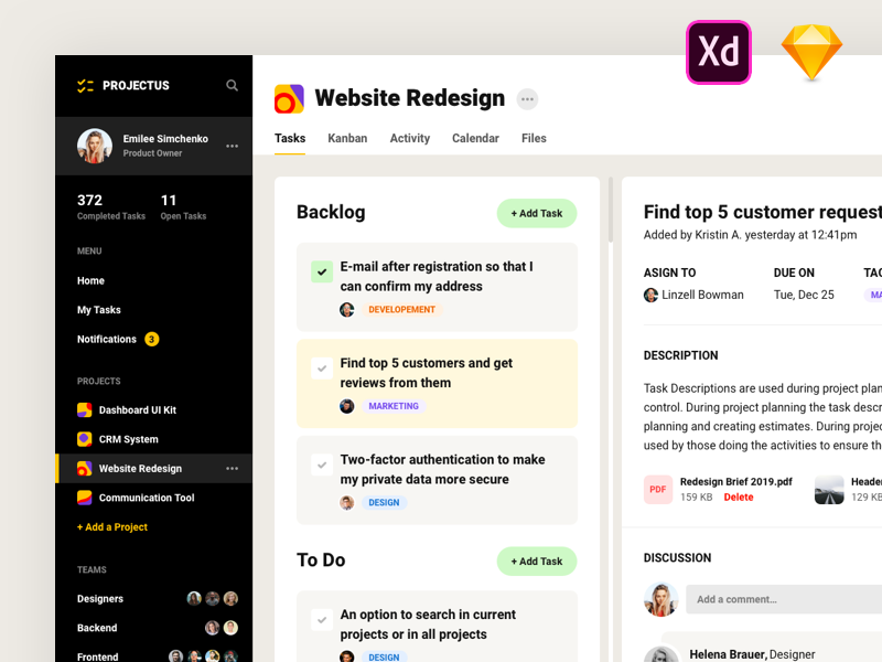 Project management free XD UI kit