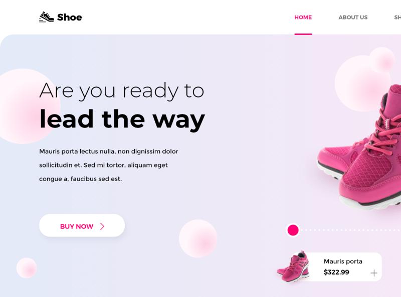 Shoes ecommerce XD landing