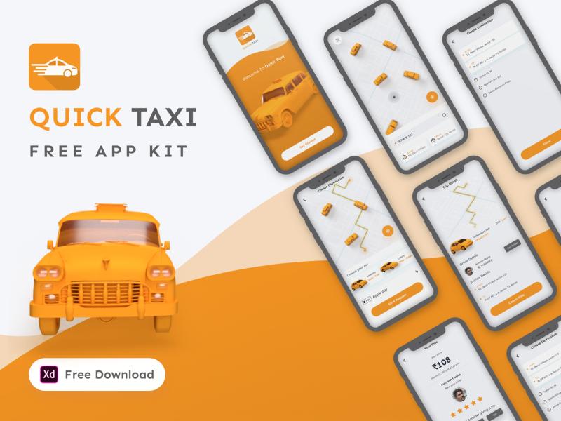 XD Taxi app mobile freebie