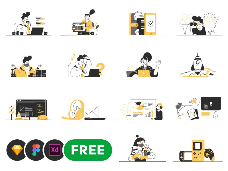 Whoooa – 20 free XD vector illustrations