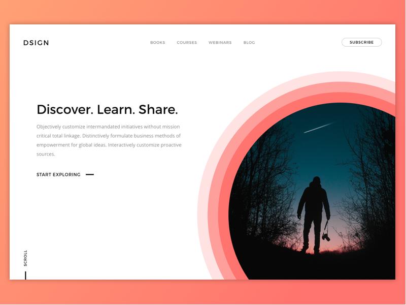 Dsign – Adobe XD Landing Page Header